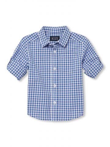 חולצת פופלין מכופתרת בהדפס משבצות / בייבי בנים