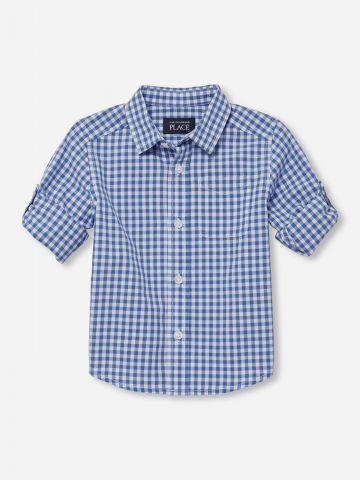 חולצת פופלין מכופתרת בהדפס משבצות / בייבי בנים של THE CHILDREN'S PLACE