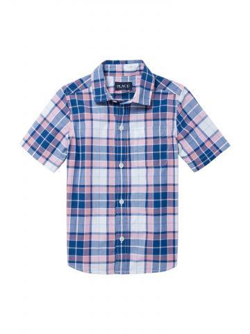 חולצה מכופתרת בהדפס משבצות עם שרוולים קצרים / בנים