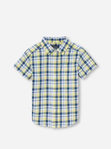 חולצה מכופתרת בהדפס משבצות / 9M-4Y