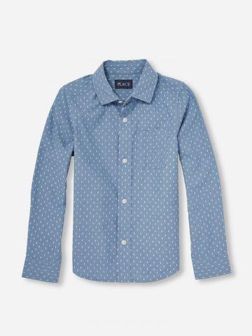 חולצה מכופתרת בדוגמת נקודות / בנים
