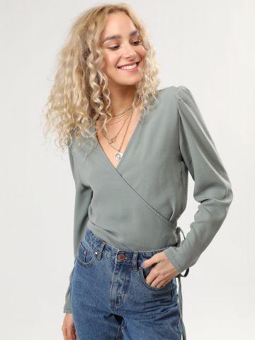 חולצת מעטפת עם שרוולים נפוחים של TERMINAL X