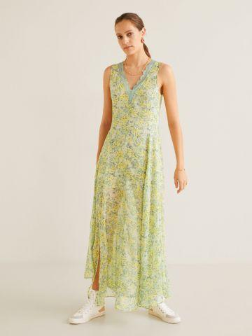 שמלת מקסי בהדפס פרחים עם תחרה