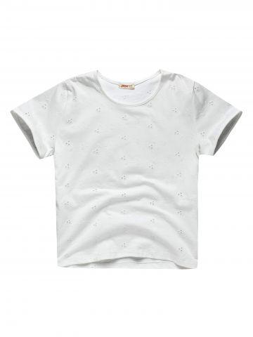 חולצת טי שירט עם עיטורי רקמה / בנות