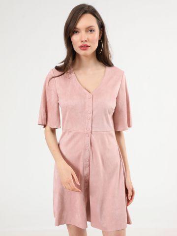 שמלת מיני דמוי זמש עם כפתורים של YANGA