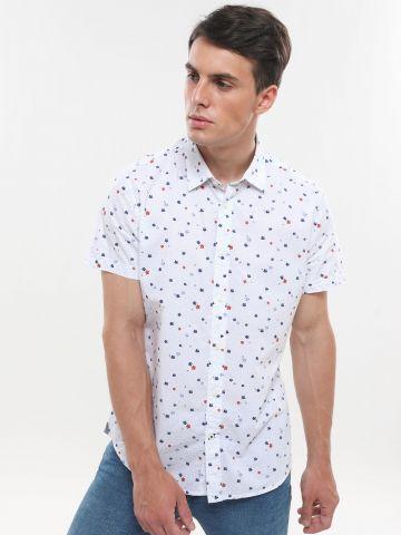 חולצה מכופתרת קצרה בהדפס נקודות ופרחים
