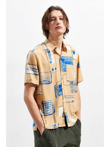 חולצה מכופתרת קצרה בהדפס ריבועים משתנים UO