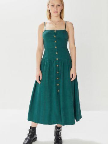 שמלת פשתן מידי עם כפתורים UO