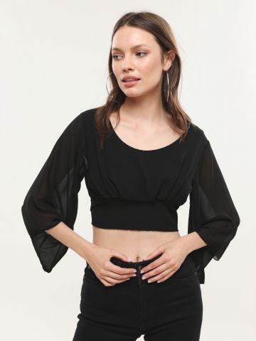חולצת שיפון קרופ עם שרוולים מתרחבים