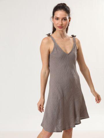 שמלת מידי פשתן עם כתפיות קשירה