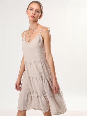 שמלת פשתן מידי קומות עם כתפיות קשירה