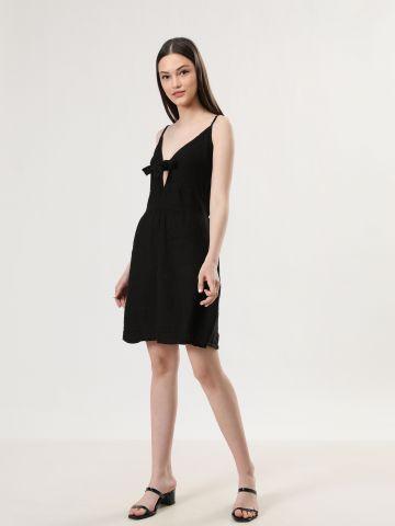 שמלת פשתן מיני עם קשירה