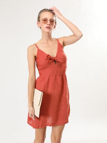 שמלת פשתן מיני עם קשירה של TERMINAL X