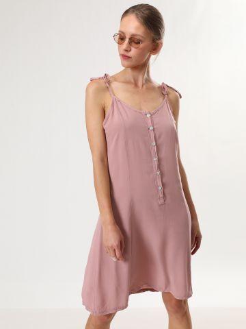 שמלת מיני חלקה עם כתפיות קשירה
