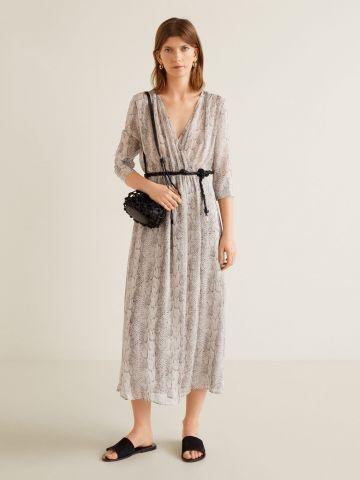שמלת מקסי וי בהדפס נחש