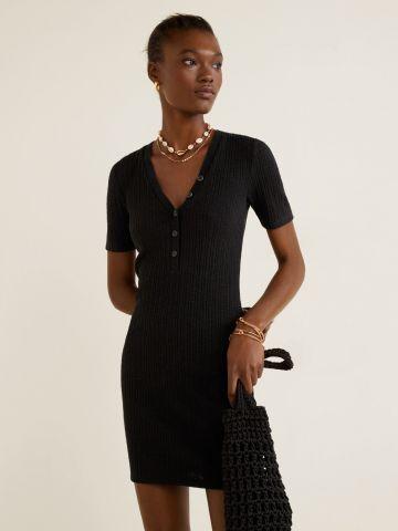 שמלת ריב מיני בשילוב כפתורים