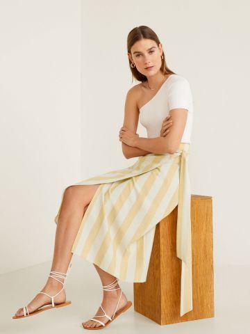 חצאית פשתן מידי מעטפת בהדפס פסים