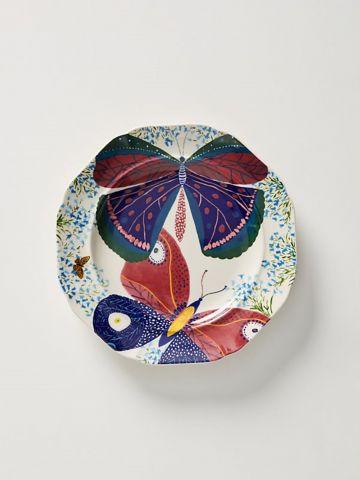 צלחת חרסינה בהדפס פרפרים Paule Marrot / מנה אחרונה