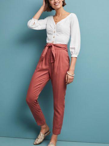 מכנסיים ארוכים בגזרה גבוהה עם חגורת קשירה