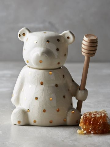 כלי להגשת דבש בצורת דוב עם נקודות זהב