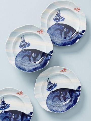מארז 4 צלחות חרסינה בהדפס לוויתן / קינוח