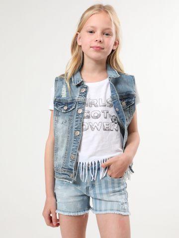 ג'ינס קצר עם הדפס פסים וכוכבים