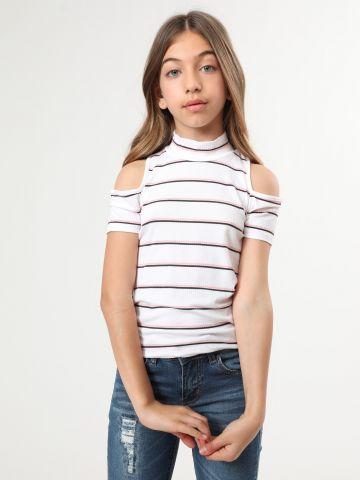 חולצת פסים קולד שולדרס ריב עם צווארון גבוה