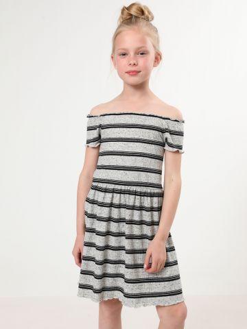 שמלת ריב פסים אוף שולדרס