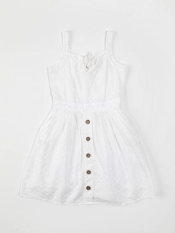 שמלה עם רקמת פרחים ועיטור כפתורים / בנות