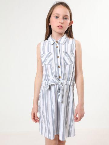 שמלת פסים עם חגורת כיווץ