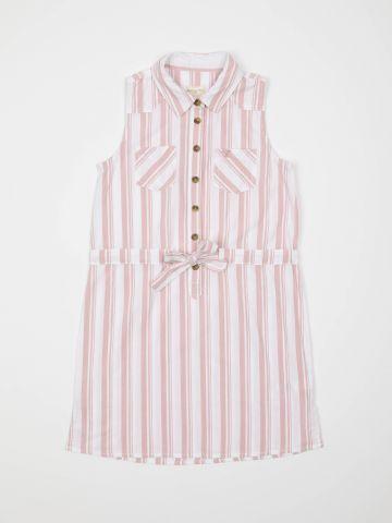 שמלת פסים עם כפתורים וכיסים / בנות
