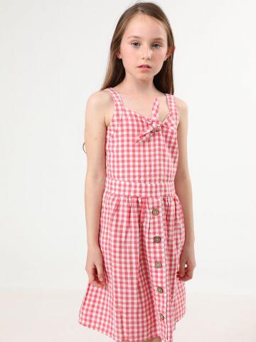שמלת משבצות עם עיטור קשירה