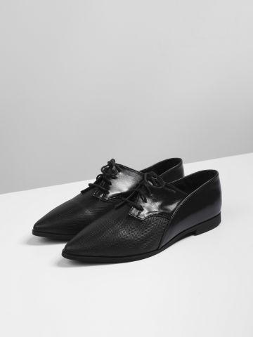 נעלי עור אוקספורד עם שרוכים
