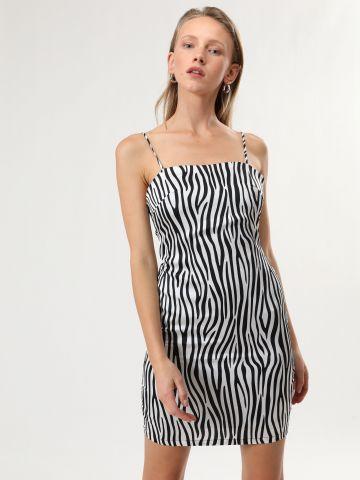 שמלת מיני סאטן בהדפס זברה