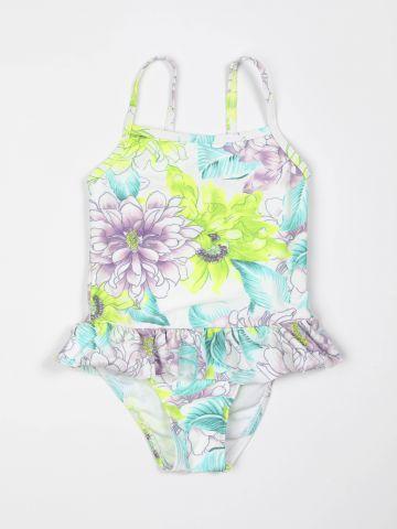 בגד ים שלם בהדפס פרחים עם עיטור מלמלה / בנות