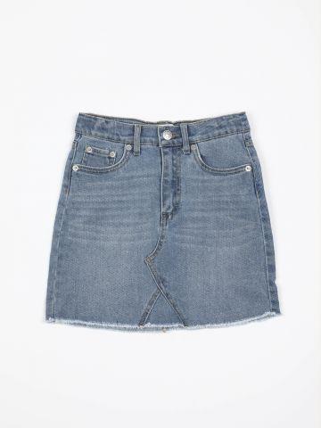 חצאית ג'ינס מיני עם סיומת פרומה / בנות