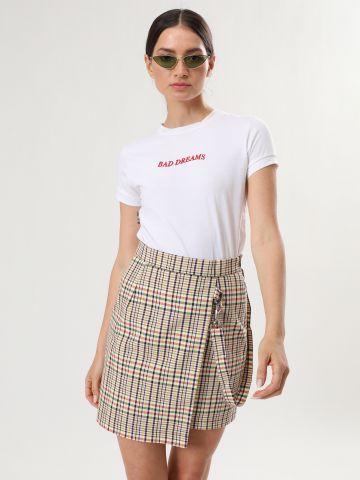 חצאית מיני שכבות בהדפס משבצות