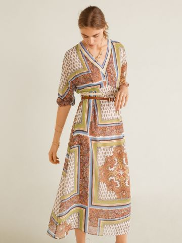 שמלת מקסי וי בהדפס פייסלי