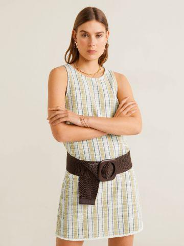 שמלת מיני בהדפס פסים מולטי קולור