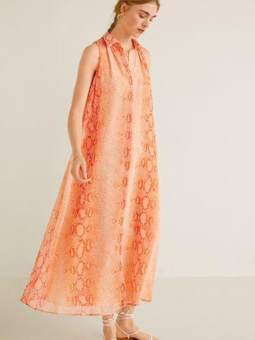 שמלת מקסי בהדפס נחש ניאון