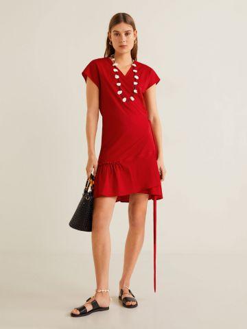 שמלת מעטפת מיני עם סיומת פפלום