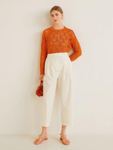 מכנסיים רחבים עם קפלים בחזית