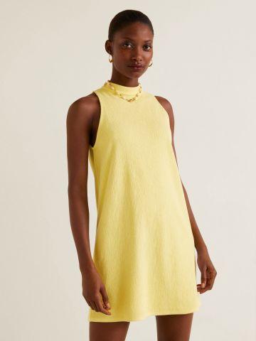 שמלת מיני עם צווארון גבוה