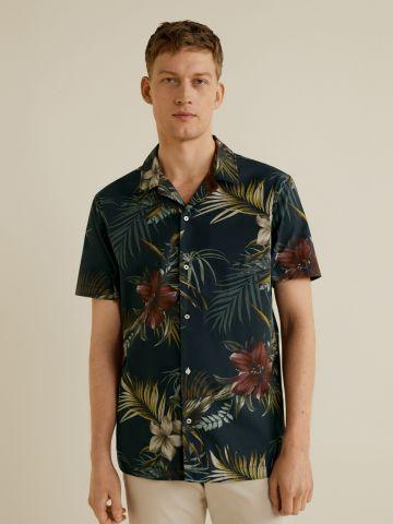 חולצה מכופתרת הוואי עם שרוולים קצרים