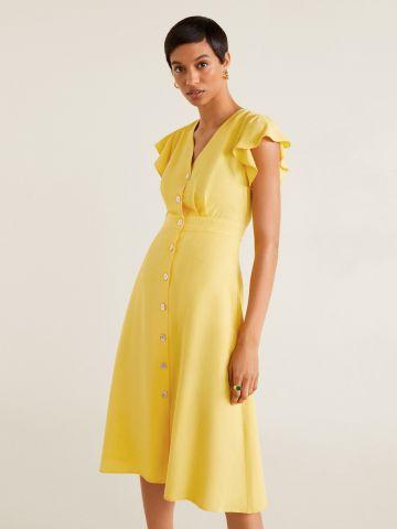שמלת מידי מכופתרת עם שרוולי מלמלה