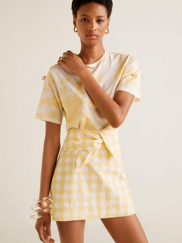 חצאית מיני בהדפס משבצות עם חגורת קשירה