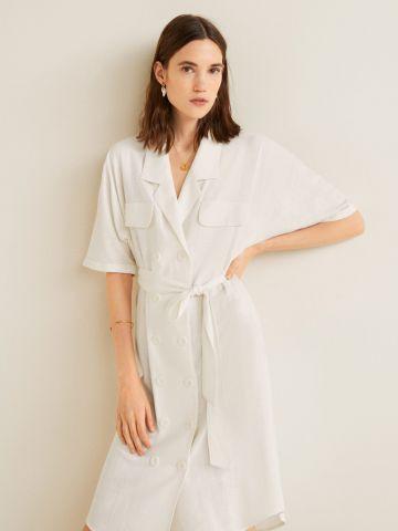 שמלת פשתן מידי עם רכיסה כפולה