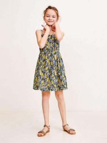 שמלת מיני בהדפס עלים / בנות