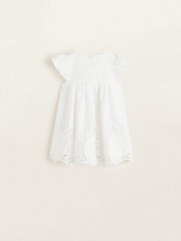 שמלה עם עיטורי רקמה ושרוולים נפוחים/ בייבי בנות