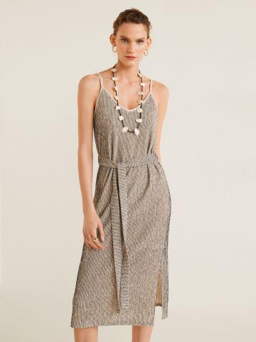 שמלת פליסה מידי עם חגורת מותן